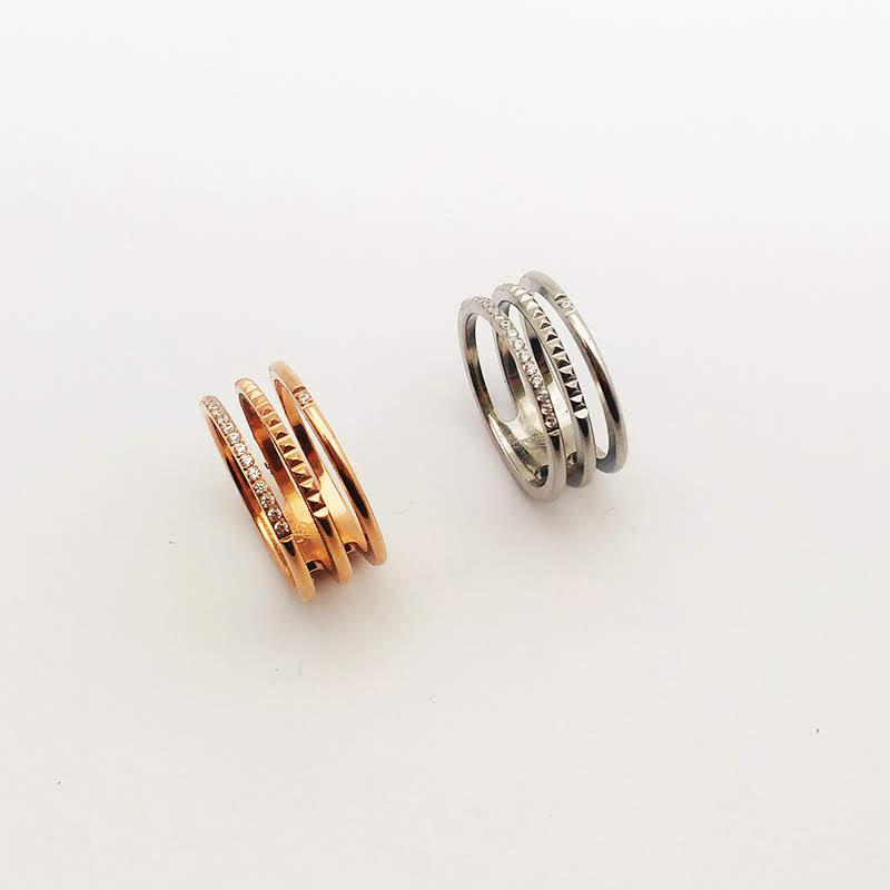 雙圈情侶對戒圓圈尾戒情人節禮物對飾三線排鑽三環