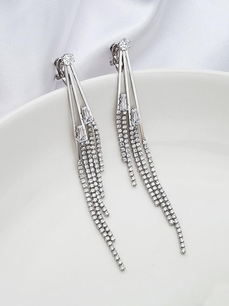 漸層五條線鑽流蘇夾式垂墜耳環垂吊耳環單鑽鑲鑽CZ鋯石鋯鑽