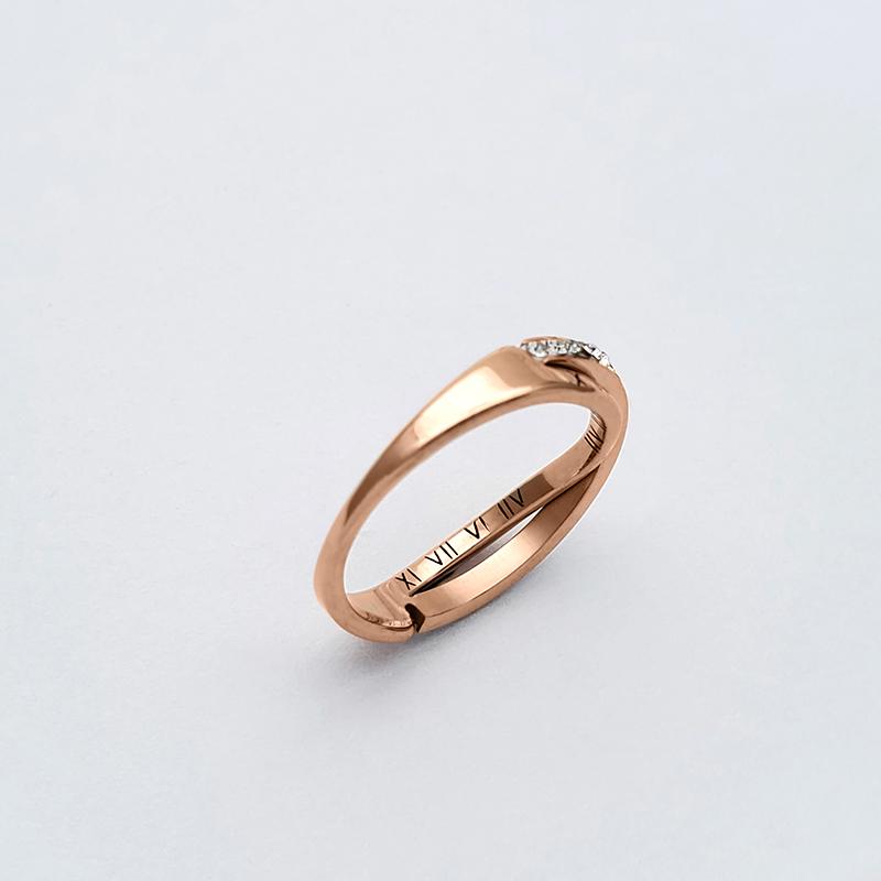 愛戀密碼316L尾戒玫金戒指鋯石戒指造型尾戒小資醫療鋼西德鋼戒尾戒防小人鋯石排鑽鋯鑽
