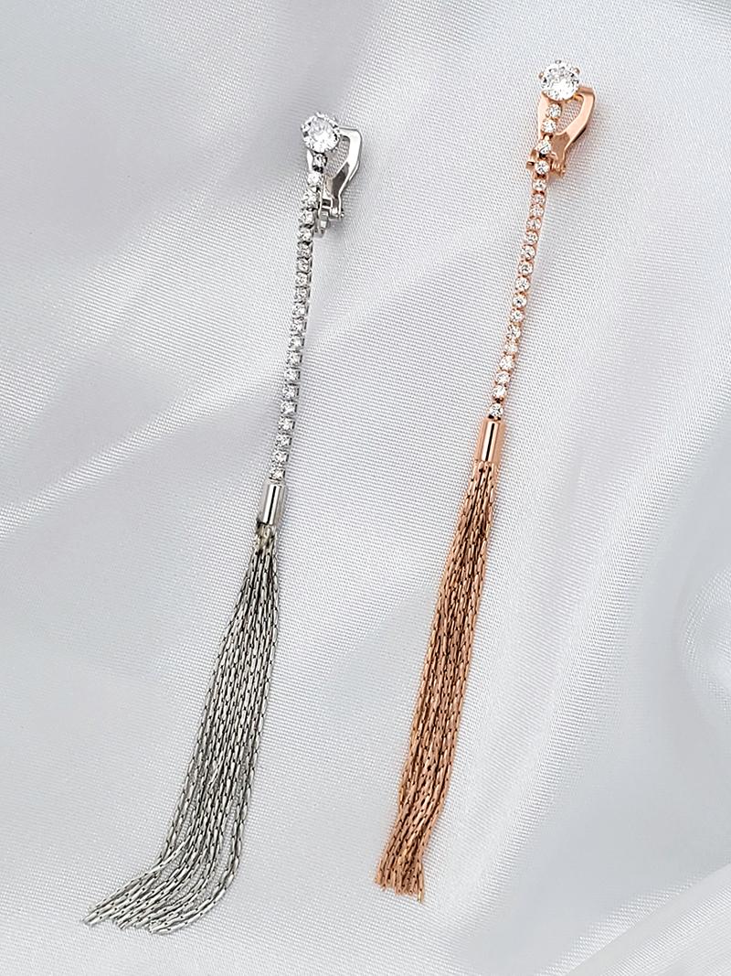 排鑽流蘇無痛夾式耳環鋯石CZ單鑽鑲鑽鋯鑽垂墜耳環垂吊耳環