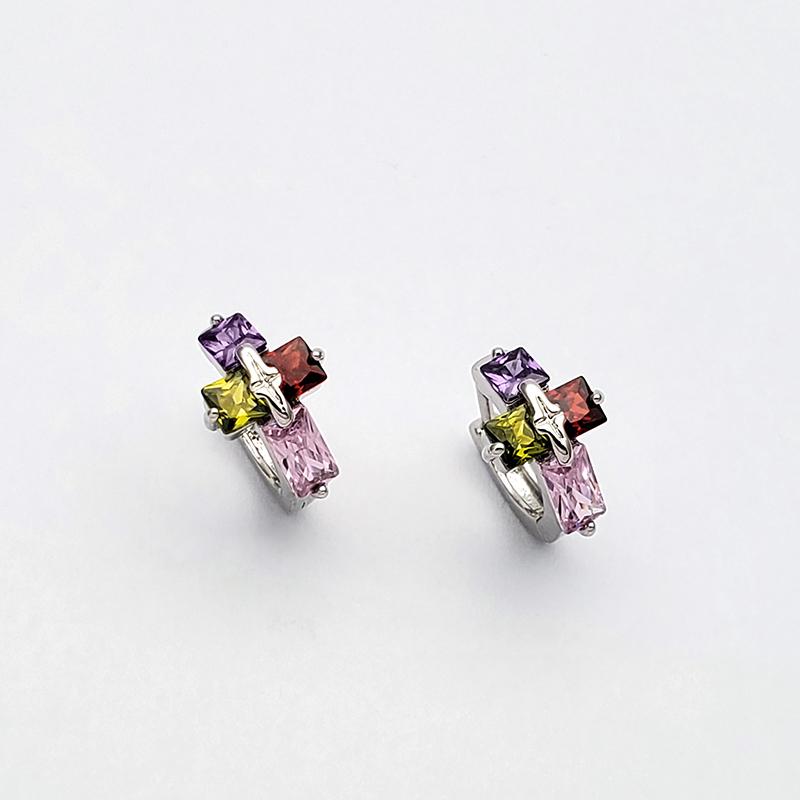 紫鑽紅鑽綠鑽粉鑽彩鑽十字架易扣耳環圈圈耳環鋯石耳環